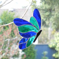 Stained Glass Butterfly Suncatcher  Green and by ShatteredbyLight, $22.00