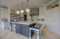 Browse pictures of gorgeous kitchens with islands for layout ideas and design inspiration. Kitchen Island With Bench Seating, Painted Kitchen Island, Kitchen Island Table, White Kitchen Island, Kitchen Pantry Cabinets, Kitchen Appliances, Kitchen Backsplash, Kitchen Floors, Backsplash Ideas
