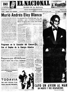Muerte de Andrés Eloy Blanco. Publicado por El Nacional el 22 de mayo de 1955.