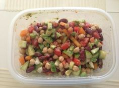 Yumm!! Mix cucumber, orange peppers, EVOO, lemon or lime, tomato, kidney beans, chickpea, advacado and you've got a feast!