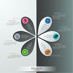 Modern Infographics Paper Template by Andrew_Kras Modern infographics options banner with 6 colorful paper drop sheets and icons on grey background. Can be used for workflo Web Design Websites, Infographics Design, Brochure Design, Flyer Design, Layout Design, Scientific Poster Design, Paper Presentation, Data Visualization