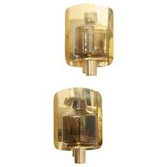 Pair of Brass and Smoked Glass Sconces by Hans-Agne Jakobsson