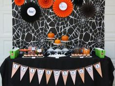 Halloween pumpkin carving party table