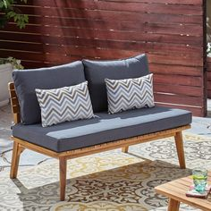 Beachcrest Home Roush Teak Patio Daybed with Cushions Grey Cushions, Outdoor Loveseat, Outdoor Seating, Outdoor Decor, Cushions Online, Wood Patio, Diy Patio, Patio Ideas, Rustic Furniture