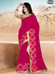 Pink Thread work Saree With Unstitched Blouse Piece - New Arrival - Shop By Type - Sarees