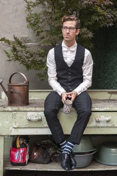 Swagger On & Off the Clock featuring Olivier Rassinoux: Navy windowpane trousers by Michael Andrews Bespoke; Navy windowpane waistcoat by Michael Andrews Bespoke; Black leather lace-ups by Prada; White Check shirt by Band of Outsiders
