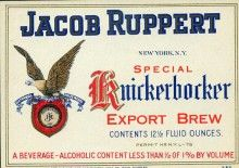Jacob Ruppert Knickerbocker Export brew, awesome old beer label