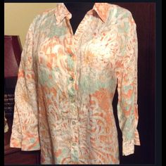 Chico's Peach and Green Tunic Worn only a handful of times--in EUC.  This is a Chico's size 3, equivalent of Misses 14. Chico's Tops Tunics