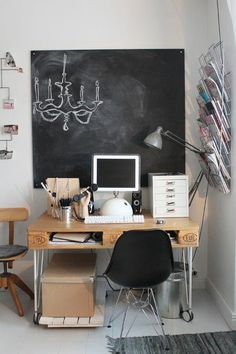 corner office from recycled pallets