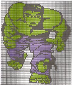 Maybe a starting point for a Hulk quilt. Love that it's broken into a grid. Marvel Cross Stitch, Geek Cross Stitch, Cross Stitch For Kids, Cross Stitch Charts, Cross Stitch Patterns, Afghan Crochet Patterns, Crochet Chart, Crochet Stitches, Lilo E Stitch