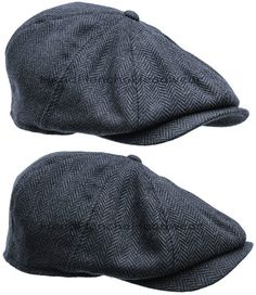 Blue Wool Tweed Herringbone Gatsby Cap Men Newsboy Ivy Hat Golf Driving Cabbie | eBay