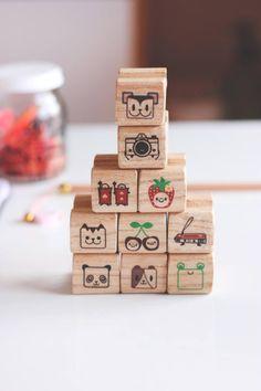 Small Individual Stamp, Rubber Stamp, Stamp for Crafting, Scrapbook Stamp, Illustrated Stamp, children stamp, polymer stamp, kawaii stamp