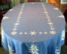 Blue Silver Christmas Trees Tablecloth Big 60 x 95 VGC Martha Stewart | eBay (Repro of CHP)