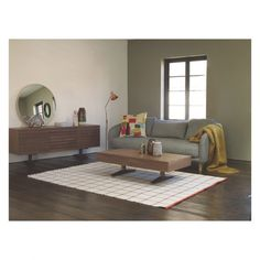 WILLIS Large natural and chestnut brown grid wool rug 170 x 240cm | Buy now at Habitat UK