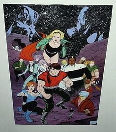 Rare vintage original 1993 Legion of Super-Heroes 34 by 22 inch DC Comics poster: Scarce 1990's DC Universe comic book superheroes pin-up