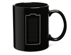 Battery Thermokruzhkus Mug: This ceramic mug is classic black with a white outline of a battery on it. Pour in your hot liquid – anything over 96.8F (36C) – and watch the green cells within the battery light up. As your beverage cools (or is ingested) the battery will fade into emptiness, reminding you that you need a refill.