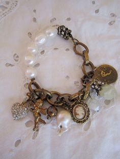 vintage repurposed jewelry charm bracelet pave door atelierparis, $93.00