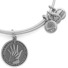 This is just too cute!! ☺️  [[Alex and Ani Hand in Hand Bangle Russian Silver]]