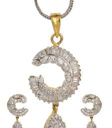 Shop American diamond jewellery online for women at best discounted prices from our unique design collection of American jewelry sets including necklaces, pendants & earrings. American Diamond Jewellery, American Jewelry, Diamond Jewelry, Bridal Jewellery Sets Online, Bridal Jewelry Sets, Locket Design, Pendant Earrings, Jewelry Shop, Earring Set
