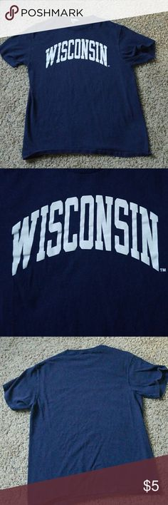 Wisconsin t-shirt Dark blue wisconsin shirt. Gently used, good condition. Tops Tees - Short Sleeve
