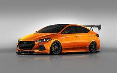 Download wallpapers Hyundai Elantra, BTR Edition, 2017, tuning orange Elantra, sedan, South Korean cars, Hyundai