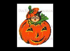 Halloween Cat Cross Stitch Cat in Pumpkin by NewYorkNeedleworks