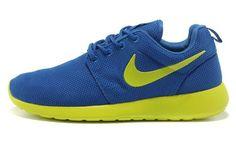 brand new 78839 ea50a Baskets Nike Roshe Run Homme (Bleu Vif Mica Vert Volt) Chaussures,