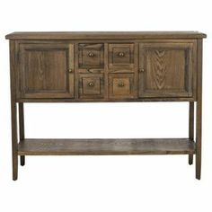 "Wood sideboard with 4 drawers and 2 doors.   Product: SideboardConstruction Material: WoodColor: Oak Features:  Four drawersTwo doors and one shelf Dimensions: 34.1"" H x 45.9"" W x 15"" D"