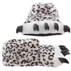 Snow Leopard Paw Slippers for Women and Men - Cat lovers will love lounging in these black and white paw slippers. Sheer Material, Snow Leopard, Womens Slippers, Warm And Cozy, Cat Lovers, Surface, Animals, Party Fun, Mountains