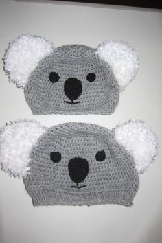 Crocheted Koala hats with a knitted edge.