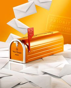 "Veuve Clicquot Mailbox Champagne Giving the vintage American mailbox a ""So Clicquot"" twist, this lightweight metal box -in Veuve Clicquot yellow"