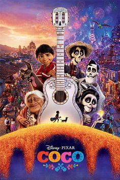 Coco - Pixar Movie Poster (Regular Style - Guitar & Skeletons) (Size: 24