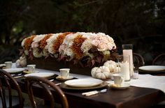 Elegant Modern Fall Wedding - love the idea of traditional dining seating with long and low pieces.