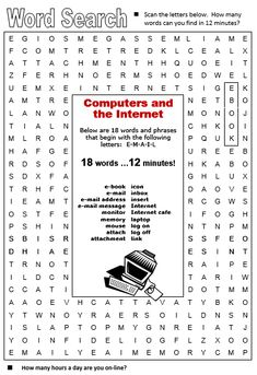 Computers and Internet - All Things Topics Computer Literacy, Computer Lessons, Fourth Grade Math, Internet, English Words, Teaching Tools, Teaching English, Esl, Language Arts