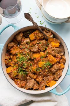 Moroccan Lamb and Butternut Squash Stew - an easy stew that is so lovely to come home to on a chilly night (and reheats like a dream). Morrocan Stew, Morrocan Food, Moroccan Beef Stew, Moroccan Lamb Tagine, Butternut Squash Curry, Lamb Casserole Recipes, Meat Recipes, Easy Lamb Recipes, Stuffed Peppers
