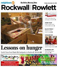 11/23 Cover Story: Food 4 Kids, operated by the North Texas Food Bank, helps feed more than 11,000 children in North Texas, including 200 in Rockwall and Rowlett.