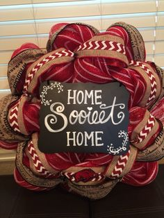 Arkansas Razorbacks Deco-mesh wreath that I made! (My mom made the sign) these are so easy and fun to make!
