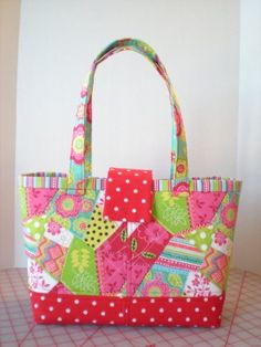 Bright Patchwork Quilted Handbag - Just in time for Spring