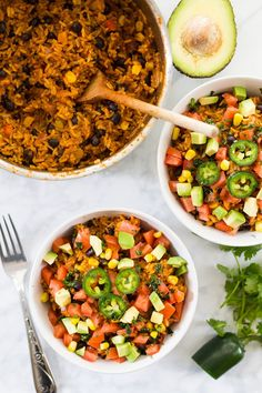 These One Pot Beef Burrito Bowls with avocado, cilantro, jalapeño and diced tomatoes are the perfect weeknight dinner - no mess, no fuss!