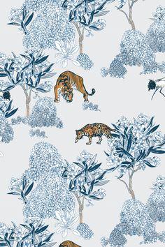 Tiger Wallpaper, Chinese Wallpaper, Computer Wallpaper, Photo Wall Collage, Picture Wall, Chinese Prints, Conversational Prints, Blue Art, Blue Aesthetic