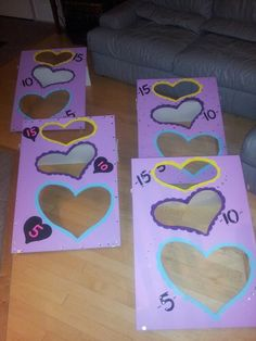 Valentine's day bean bag toss for classroom party. Cut out of MDF board and decorated with acrylic paint at Mrs. Joni's.