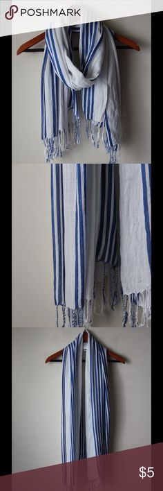 "Blue and white scarf White with blue stripes scarf - lightweight - fringe edge - rayon - 32"" x 72"" Accessories Scarves & Wraps"