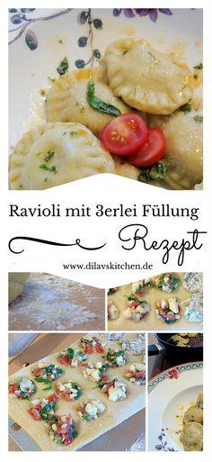 Nudeln selbst zu machen ist supereinfach. Wie wärs denn mal mit Ravioli? Dieses Rezept punkte mit 3 verschiedenen genialen Füllungsvarianten. Sicher dir jetzt das Rezept auf www.dilavskitchen.de  #nudeln #pasta #rezept #diy #selbstgemacht #ravioli #ziegenkäse #walnuss #kochen