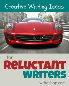 Creative writing ideas for reluctant writers that invite kids to invent a holiday, make a poster, and write from the perspective of a disgruntled car.