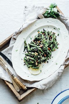 cilantro black rice w/ roasted garlic scapes + asparagus // dolly and oatmeal