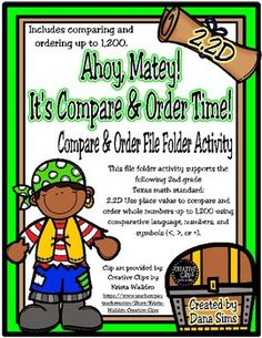 This file folder matching activity includes 12 compare and order problems that support the following 2nd grade Texas math standard: 2.2D Use place value to compare and order whole numbers up to 1,200 using comparative language, numbers, and symbols (<, >, or =).