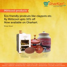 Shop beautiful clay pots and other earthen products from Mitticool online now on great discounts only at http://www.gharkart.com/  Follow this link to shop for clay pots, clay fridge, clay cups etc. http://www.gharkart.com/category/household.html #Gharkart #Groceries #Onlineshopping #clayproducts #mitticool #earthen #clay #claypots #clayfridge