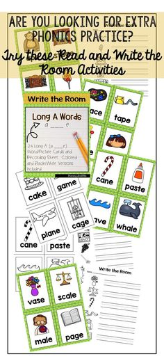 Read and Write the room. 24 Long A (a___e) word/picture cards to practice the long a silent e phonics skill Daily 5 Activities, Sight Word Activities, Back To School Activities, Learning Resources, Teaching Sight Words, Dolch Sight Words, Reading Skills, Guided Reading, E Words