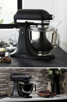 This modern matte black stand mixer is the ultimate display of luxury and allows you to bake the fluffiest cakes and cookies. accessories, Sophistication Is At It's Finest With These 11 Matte Black Kitchen Accessories Kitchen Appliance Storage, Small Kitchen Appliances, Kitchen Aid Mixer, Home Appliances, Kitchen Gadgets, Kitchen Stove, Kitchen Units, Cooking Gadgets, Kitchen Utensils