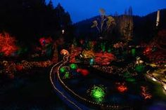 Sunken Garden at the Butchart Gardens in Canada ~ night illuminations